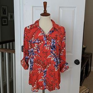 Loft red floral blouse